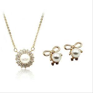 Mini bow earrings pearl necklace set